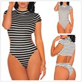 Sexy Womens High-necked Short Sleeeve Cotton Striped Jumpsuits Rompers