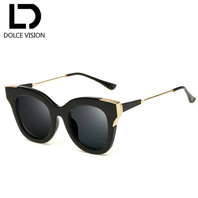 1ebdc34235 DOLCE VISION Ladies Black Frame Sun Glasses For Women Fashion Shades Female  Mirror Cat Eye Sunglasses