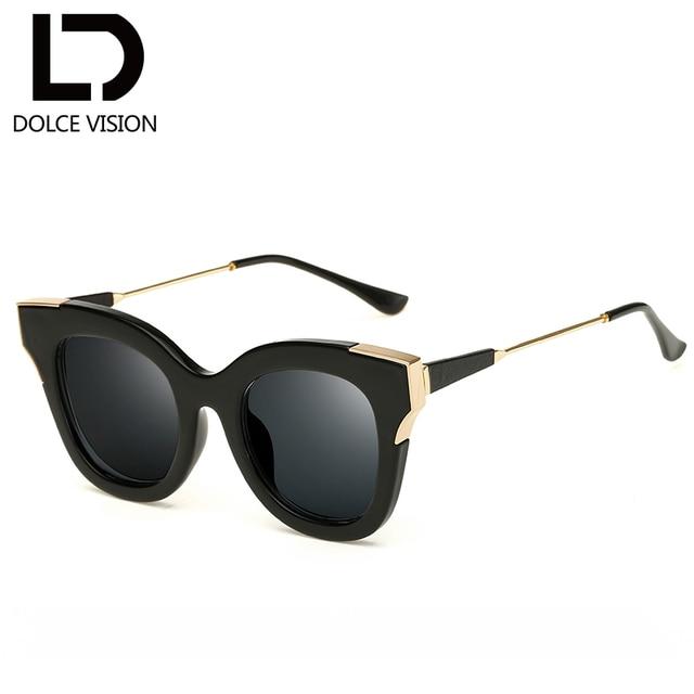 1ebdc34235 DOLCE VISION Ladies Black Frame Sun Glasses For Women Fashion Shades Female  Mirror Cat Eye Sunglasses