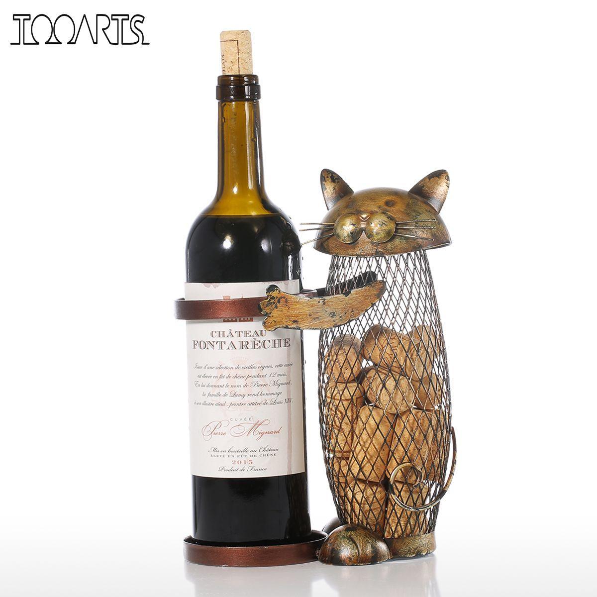 Tooarts Chat Rouge Casier à Vin Liège Conteneur Porte-Bouteille Cuisine Bar Affichage En Métal Vin Artisanat Cadeau Tricot Animaux Vin Stand