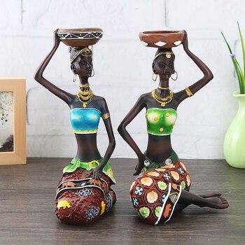 2Pcs African Women Resin Statue Candlestick Home Decoration Craft Dinner Wedding Gift Decor Sculpture Twizamartca