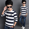 2017 New Fashion Spring Autumn Teenage Striped T-Shirt Boy Kid Children Boys T Shirts Long Sleeve Baby Clothes Tops JW2082