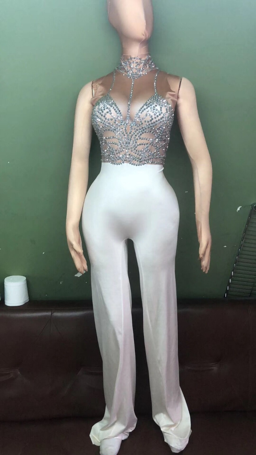 New Sexy White Big Leggings Bodysuit Costume Women s Bright Outfit Nightclub Party Wear Female Singer