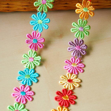 30Yards Colorful Daisy Flower Floral Embroidered Polyester Lace Trim Venice Venise Applique Sewing Doll