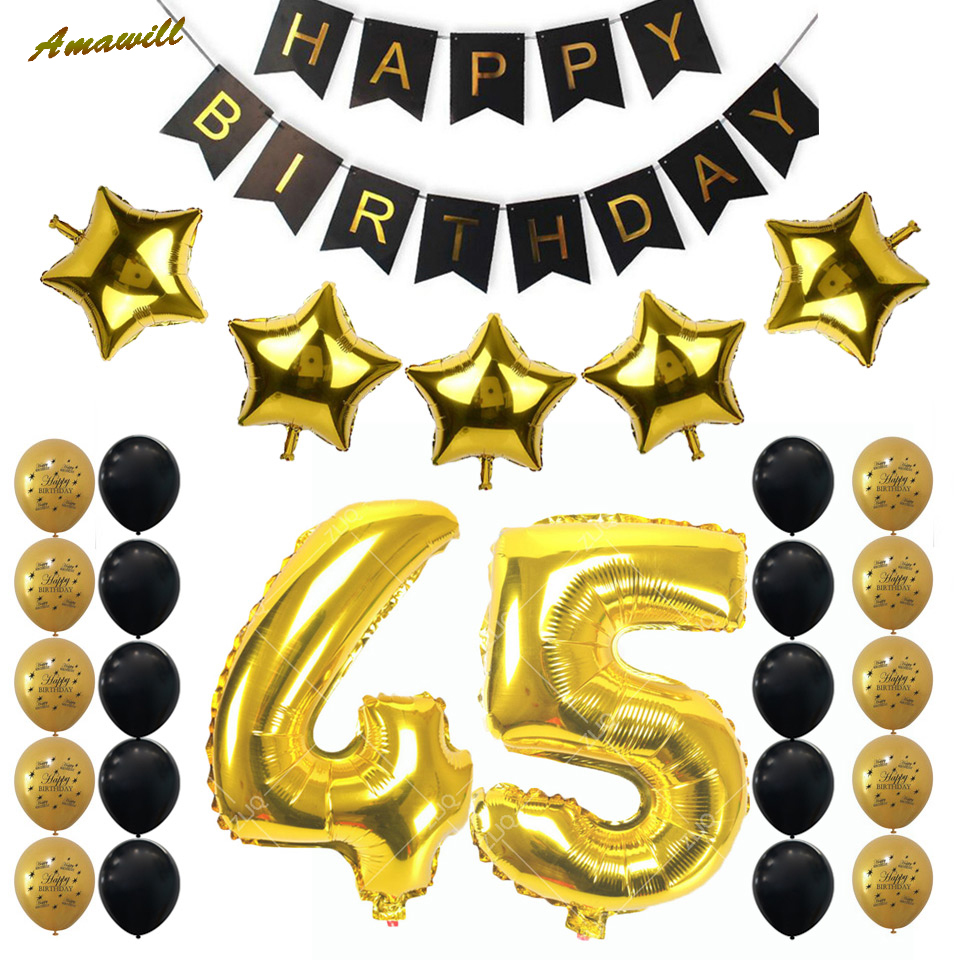 Online Shop Amawill 45th Birthday Party Decoration Kit 12inch Gold Black Balloon Happy Banner Adult 45 Years Old Supplies 7F