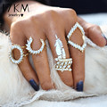 17KM Hot Turkish Vintage Punk Ring Set Punk Crystal Flower Gold Color Rings For Women/Men Midi Finger Ring 4 PCS Ring Set