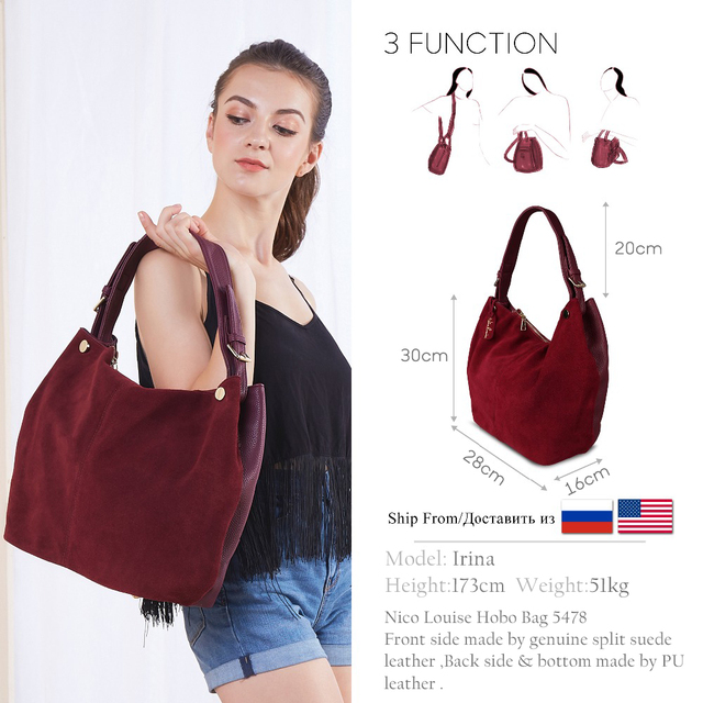 Nico Louise Suede Leather Shoulder Bags 1