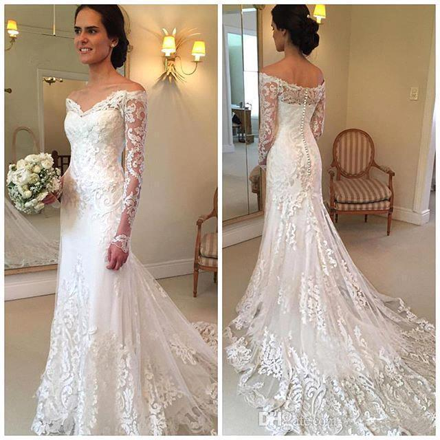 New Gorgeous Long Sleeve Lace Mermaid Wedding Dresses 2017 Dubai African Style Off Shoulder Bridal Gowns Wm157 In From Weddings Events On