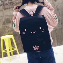 NEW-fashion Cute Cat Embroidery Canvas Student bag Cartoons Women Backpack Leisure School bag black&pink цены