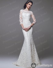 Bride Dress 2015 New Fashion Mermaid Bateau Neck Sweep Train Sexy Backless Lace Wedding Gown With Three Quarter Sleeve MF611