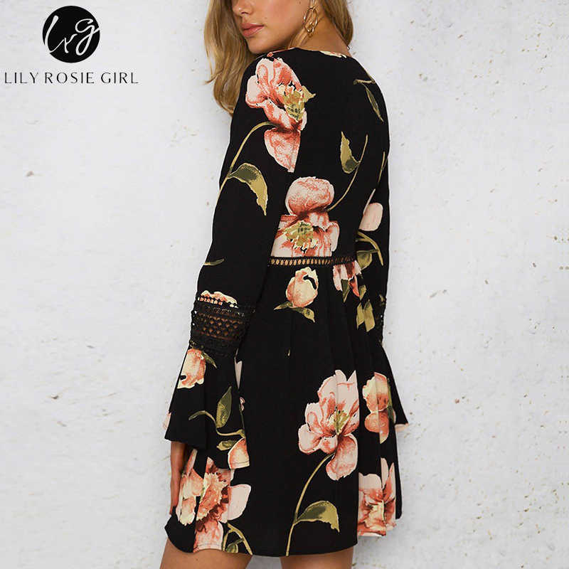 507372e16e605 Lily Rosie Girl Hollow Out Lace Up Women Dress 2019 Summer Boho Floral  Print Mini Dresses Long Flare Sleeve Short Casual Vestido