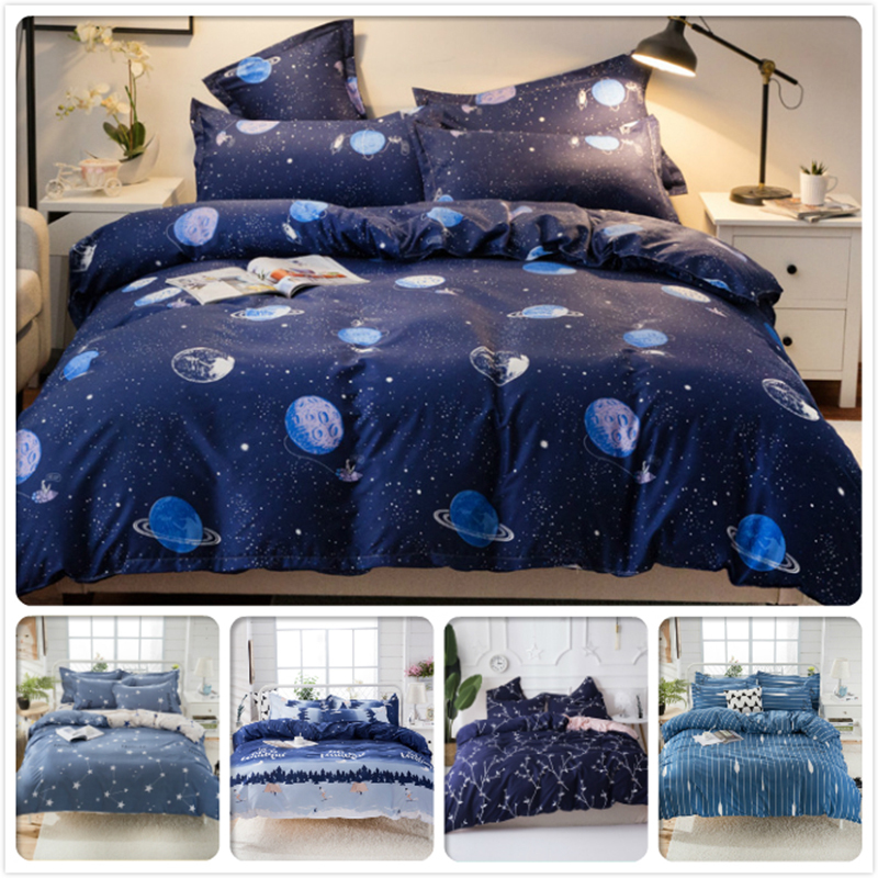 Galaxy Universe Outer Space Creative Pattern Duvet Cover 3pcs 4pcs Bedding Set Kid Child Cotton Soft Bed Linen Single Queen Size