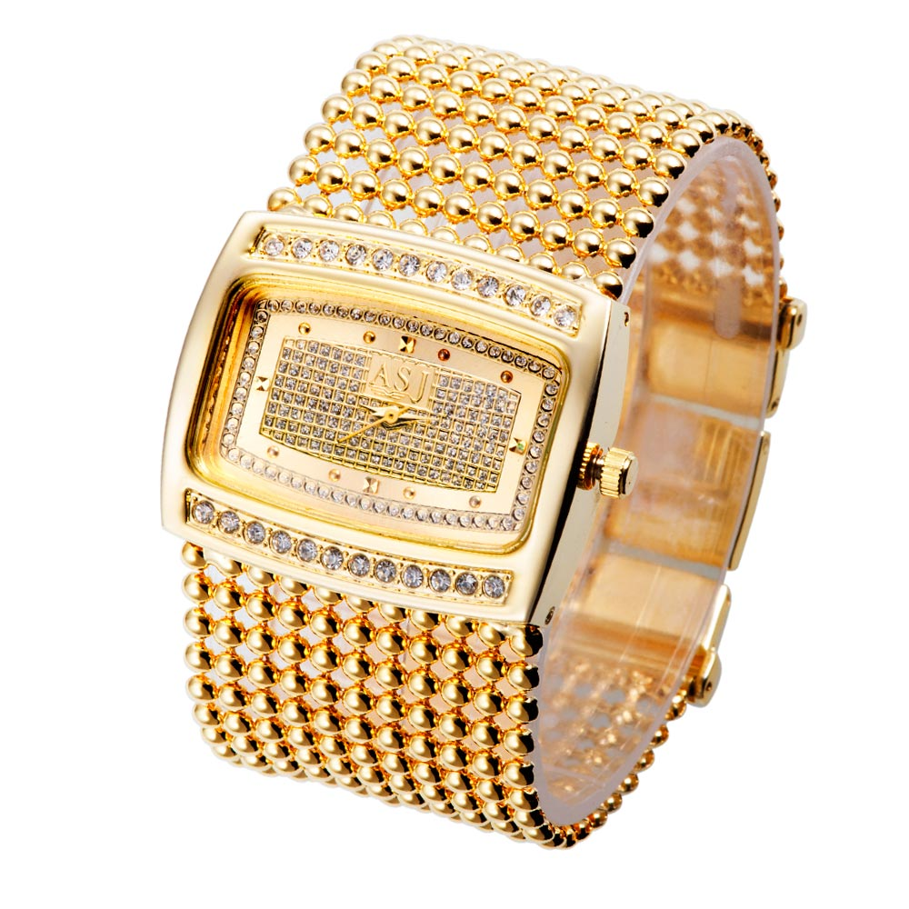 2016 New Fashion Gold Silver Diamante Case Alloy Quartz Watch Women Rhinestone Watches Dress Wristwatches Dropshipping