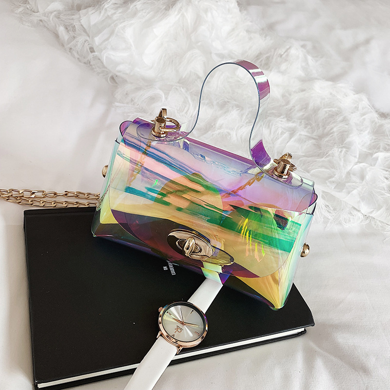 Summer Transparent Jelly Bag Crossbody Tote Bags Women 2019 Quality PVC Luxury Handbags Designer Ladies Laser Clear Shoulder Bag in Shoulder Bags from Luggage Bags
