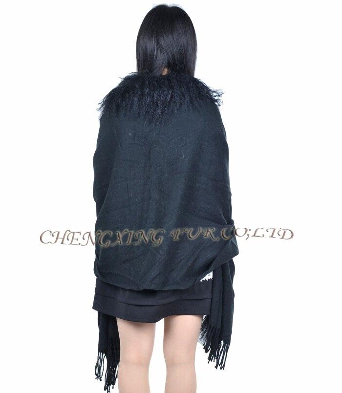 CX-B-P-04A Черная Женская зимняя модная шаль из шерсти ягнёнка с меховой отделкой