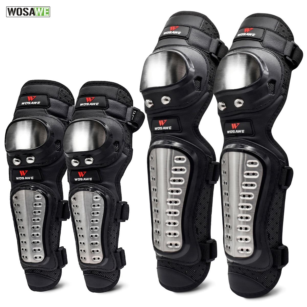 43364e3f5 WOSAWE 4 pçs set Aço Inoxidável Cotovelo Knee Pads Pad Motocicleta Joelho  Armadura Moto Racing
