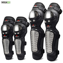 WOSAWE 4Pcs/Set Stainless Steel Elbow Knee Pads Motorcycle Pad Armor Moto Racing Protective Gear Protector Guards Kit