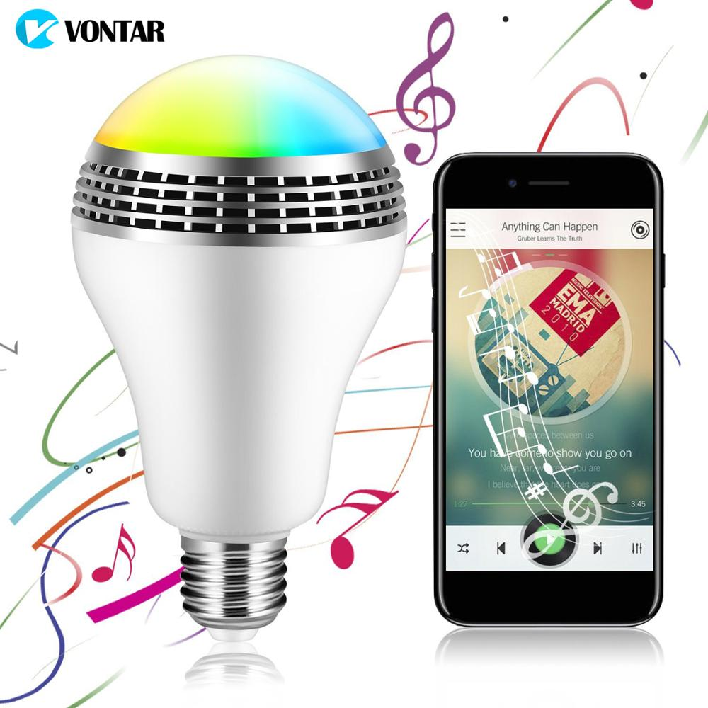 VONTAR Bluetooth Smart Speaker Light E27 LED White + RGB Bulb Lamp Smart Music Audio Bluetooth Speaker + Remote Control for Home lumiparty intelligent e27 led white rgb light ball bulb colorful lamp smart music audio bluetooth speaker with remote control