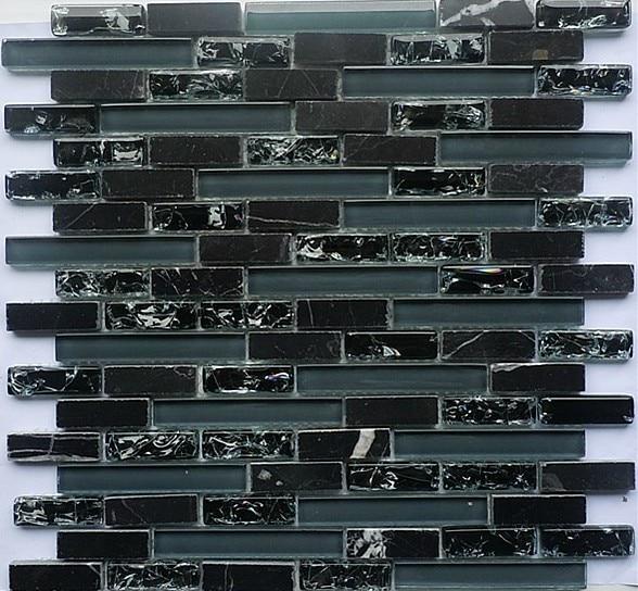 Black Gl Mosaic Tile Backsplash Sgmt065 Grey Stone Wall Free Shipping Tiles