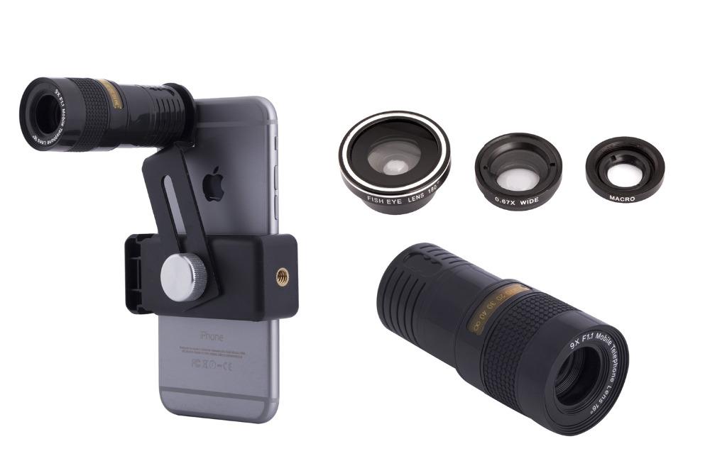 Zoom Optical Lens 4 in 1 Mobile Phone Telescope 9X Telephoto fish eye wide angle macro camera lens for iphone7 6 5 huawei lenovo 12