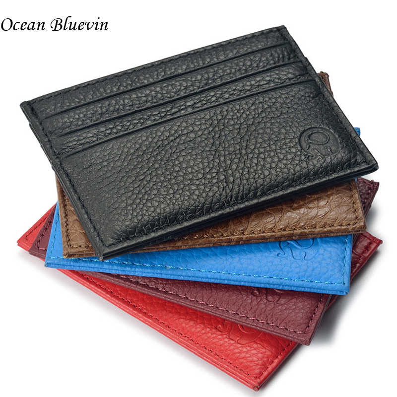 Genuine Leather 6 Bits Lychee Pattern Ultra-thin Vntage Bank ID Holders For Men Women Business Credit Card Holder Cover Wallets