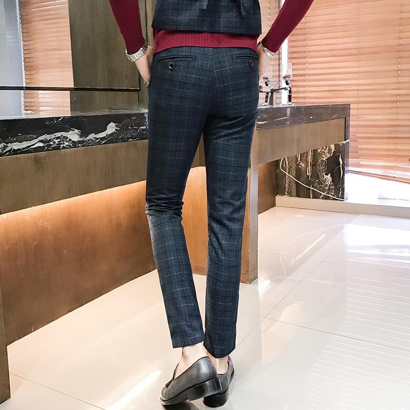 75ba30e3e9a Beste Kopen Suits Broek Mannen Maat Sml XL 2XL 3XL 4XL 5 XL Marineblauw  Mode Business Man Pak Plaid Broek Comfortabele en Elegante 2018 Goedkoop.