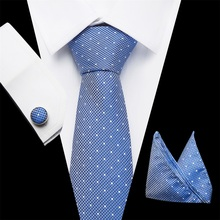 Vangise Tie Sets Mens Slim Dot Floral Ties Hanky cufflink 7.5cm Blue Necktie Pocket Square ties For Men Wedding Party