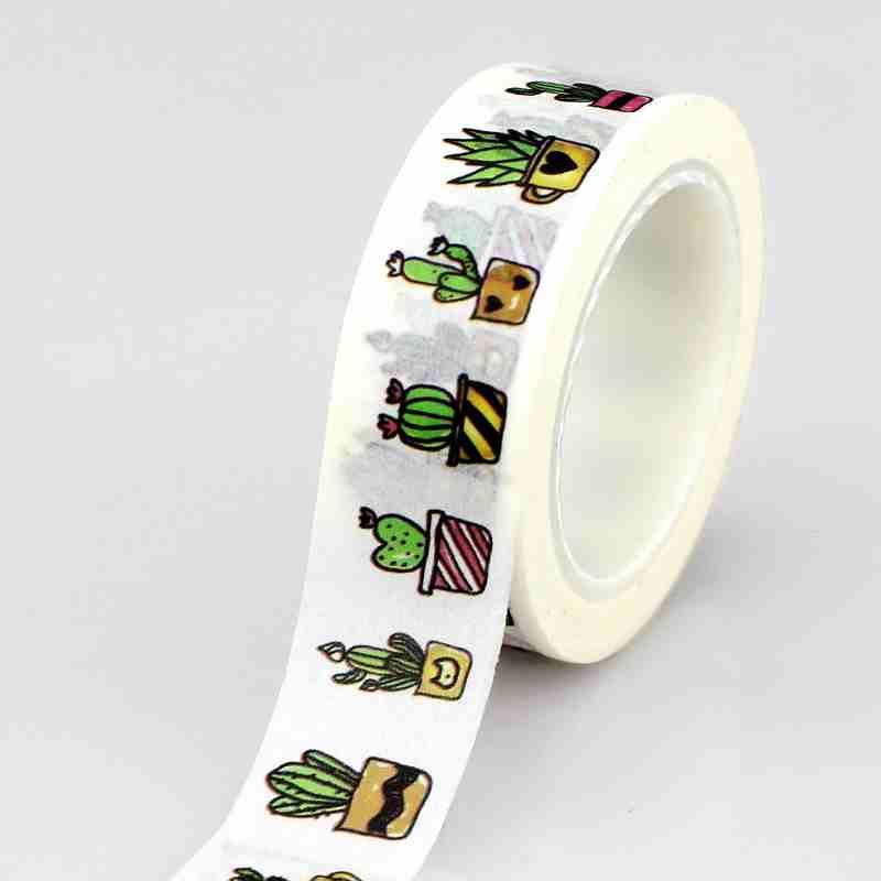 10M Roll Succulent Cactus Washi Tape Scrapbooking Tools Cute Cinta Adhesiva Decorativa Masking Tape Japanese Office Stationery