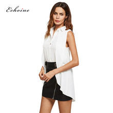 Echoine Women Tops Blouses Office Lady Sexy Sleeveless Single Button Elegant Multi-layer Curved Hem Turn-Down Collar White Shirt curved hem single breasted cami dress