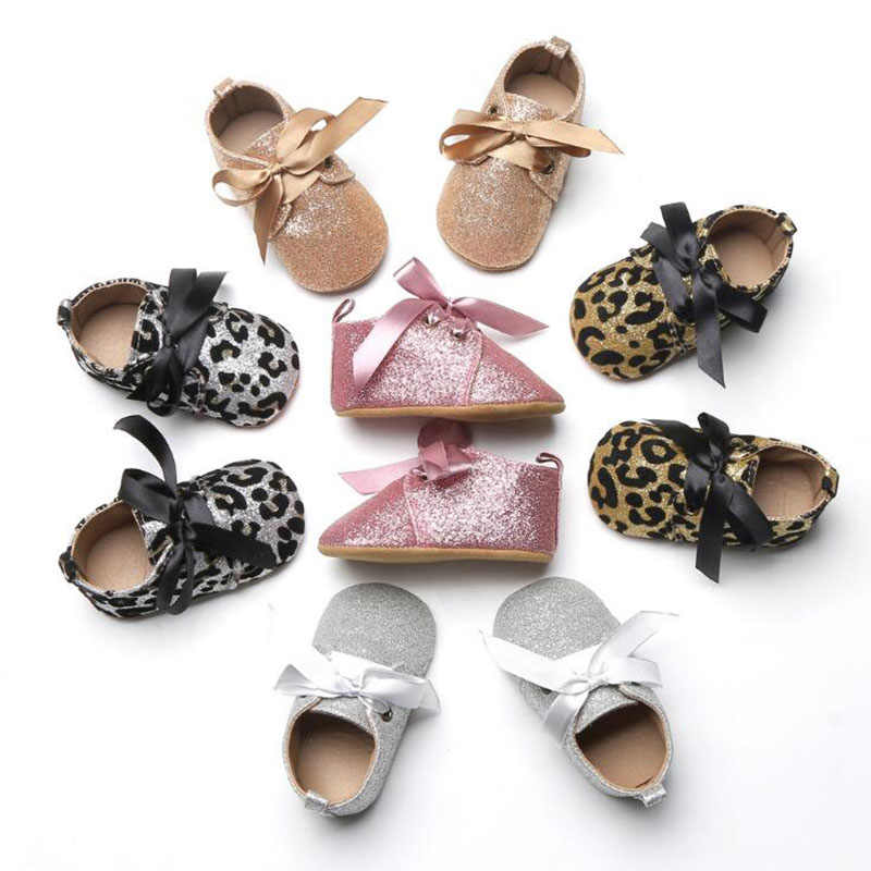 Princess Girl Bling Walker Leopard Baby Shoes Bow knot Lace Up Mary Jane  Crib Bebe Sweet 23f5131179ab