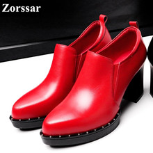 2017 NEW Women's Pumps Genuine leather Round toe High-heeled shoes Lady shoes Comfort platform High Heels woman Single shoes