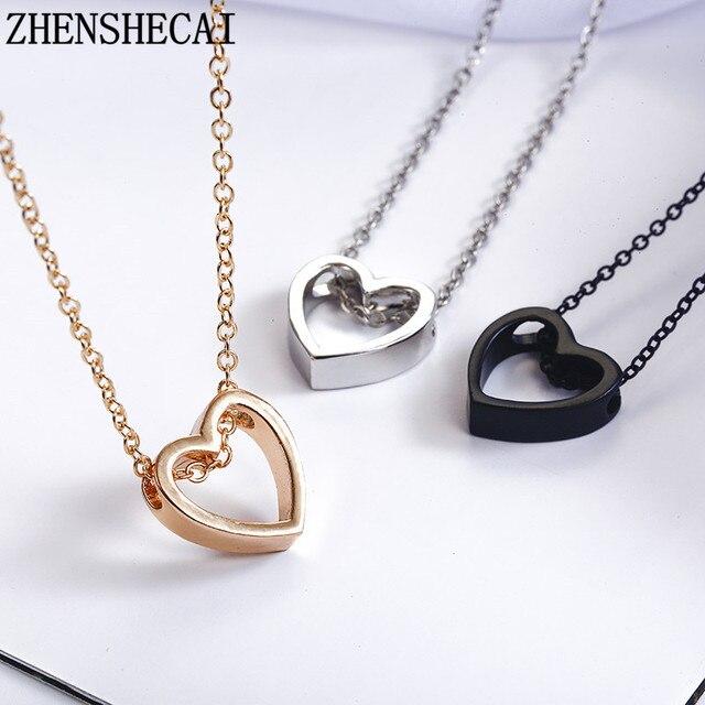 אופנה שרשרת לב עיצוב שחור זהב רסיס צבע חלול פשוט לנשים חתונה מתנה 2018 חמה חדש xz3