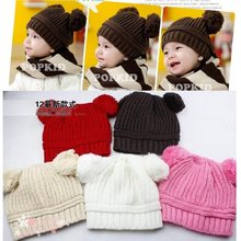 Baby Beanies Crochet Knitted Kids Hat Children Winter Hats Warm Girl Caps newborn photography props Bebes Bucket Hat Bonet(China)