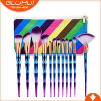 12PCS Diamond Makeup Brush Sets Beauty Tools Makeup Sets Brush GUJHUI Rhyme Color