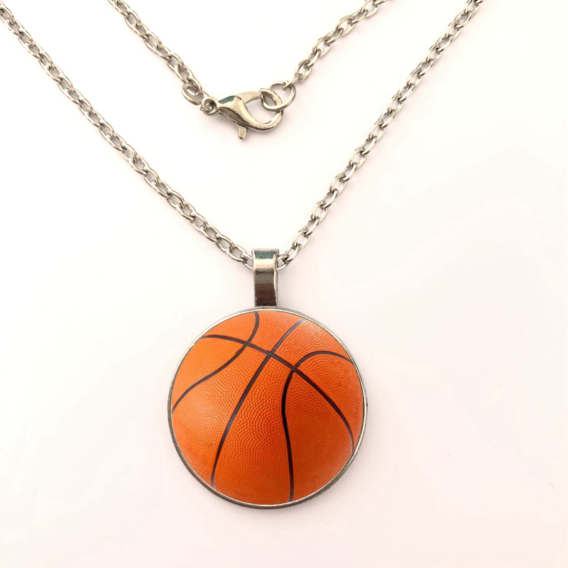 2019 New Fashion Basketball Printed Glass Cabochon Pendant Necklace Girl for Women Men Jewelry Gifts in Pendant Necklaces from Jewelry Accessories
