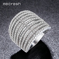 Mecresh 2017 Newest Hollow Design Crafts Micro AAA CZ Paved 20mm Cocktail Rings White Gold Plated Party Jewelry For Women JZ026
