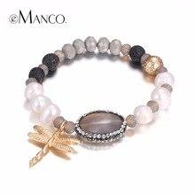 EManco Kawaii Libélula Encantos Pulseras del Estiramiento para Las Mujeres de Imitación de Perlas y Cristal y Piedras Semipreciosas Joyería de Moda