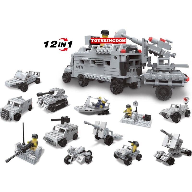Modern military 12in1 Medium gun Tractor building block army figure tank armor car jeep Radar vehicle boat Motorcycle brick toys 古 迪 坦克 遭遇 戰