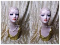 Jewelry Hat Wig Display Vintage Hand Painted Fiberglass Female Mannequin Head