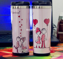 420ML stainless steel double layer  coffee mug luminous image of the beautiful lady