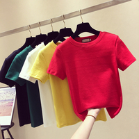 Spring Summer Pure Color T-shirt Women O Collar Short Sleeve Short Solid-colored All-match Basic T Shirts Tees Tops Lady Student