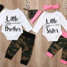 Комплект одежды для новорожденных мальчиков и девочек, осенняя хлопковая футболка с длинными рукавами для маленьких девочек и сестер, топы, камуфляжные штаны, одежда с шапочкой