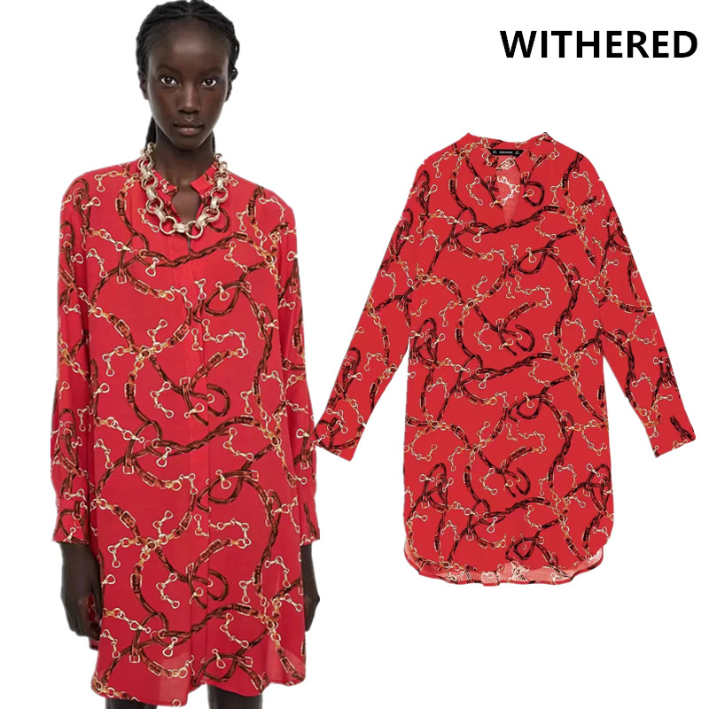 236820609056 Detail Feedback Questions about Withered winter dress vestidos de fiesta  england Chain printing red color kimono long shirt party dress women plus  size XL ...
