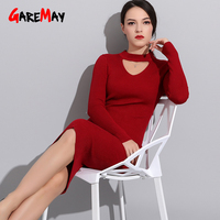 Garemay Autumn Pink Long Dress Female Maxi Warm Knitted Dresses For Women Red Dresses For Woman Large Size Winter Dress Elegant