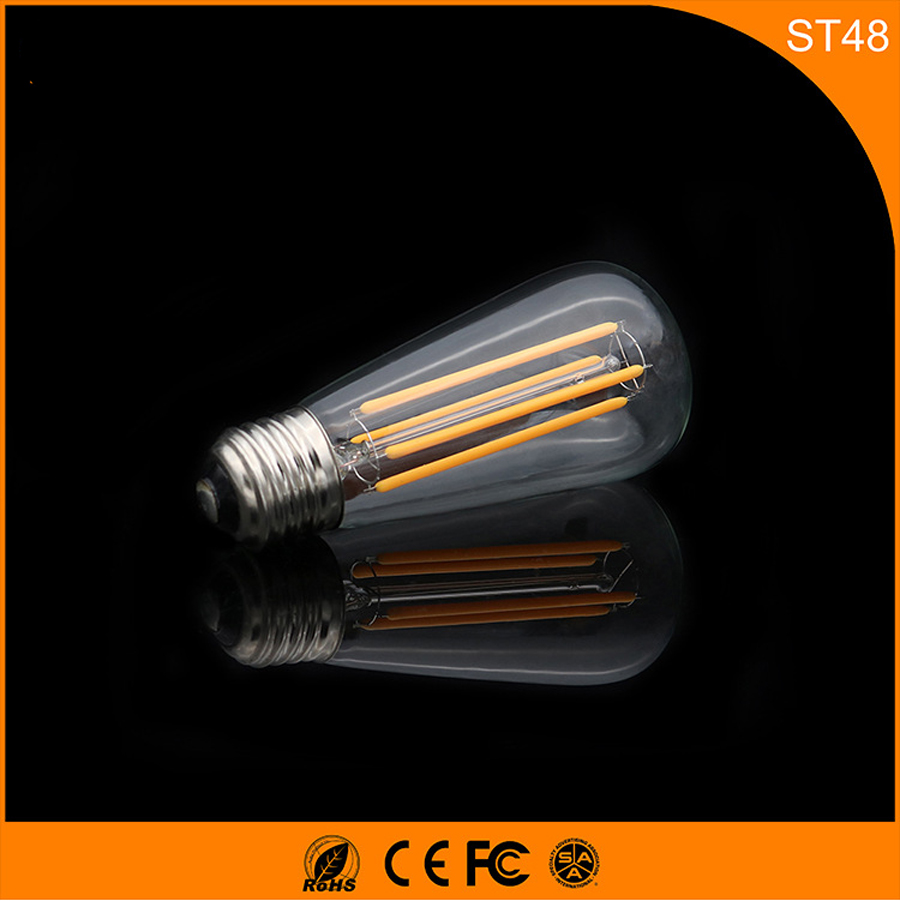 50PCS Retro Vintage Edison E27 B22 LED Bulb ,ST48 4W Led Filament Glass Light Lamp, Warm White Energy Saving Lamps Light AC220V retro lamp st64 vintage led edison e27 led bulb lamp 110 v 220 v 4 w filament glass lamp