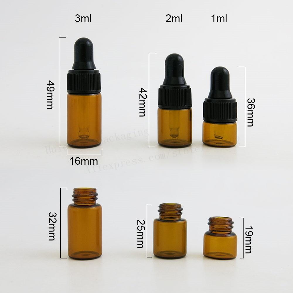 Image 3 - 100 x Top Quality 1ml 2ml 3ml Mini Cute Amber Small Glass Dropper Bottles Jars Essential Oil Perfume tiny portable bottles Vialsportable perfume bottleperfume oil bottlesoil perfume bottles -