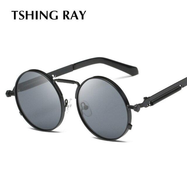 99294367023 TSHING RAY 2018 New Mens Gothic Steampunk Round Sunglasses Men Coating Mirrored  Circle Vintage Punk Sun