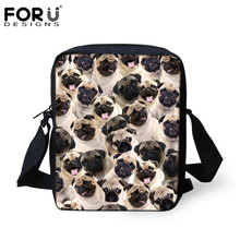 FORUDESIGNS Travel Handbags for Women Funny Pug Dog Husky Print Puzzle Ladies Mini Crossbody Bag Designer Messenger Bags Mochila