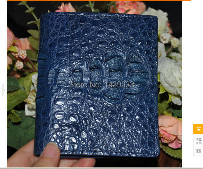100% genuine crocodile skin leather  bi-fold wallet alligator skin wallets and purses