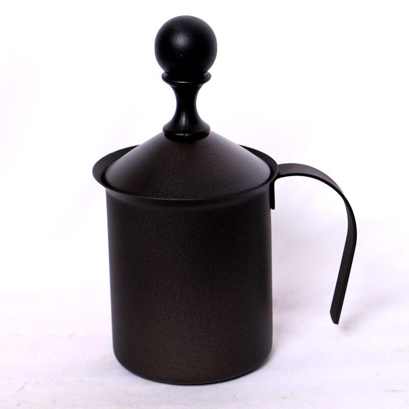 XEJONR mousseurs à lait mousseur à main en acier inoxydable mousse à lait corolle pour fouet expresso noir Cappuccino Coffeeware cuisine